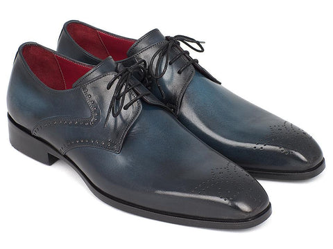 Paul Parkman Men's Navy & Blue Medallion Toe Derby Shoes by PAUL PARKMAN on OOSTOR.com