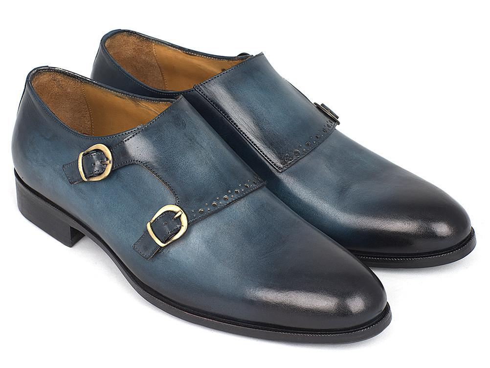 Paul Parkman Navy Double Monkstrap Shoes by PAUL PARKMAN on OOSTOR.com