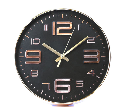 Black Embossed Rouan Copper Clock by Sole Favors on OOSTOR.com