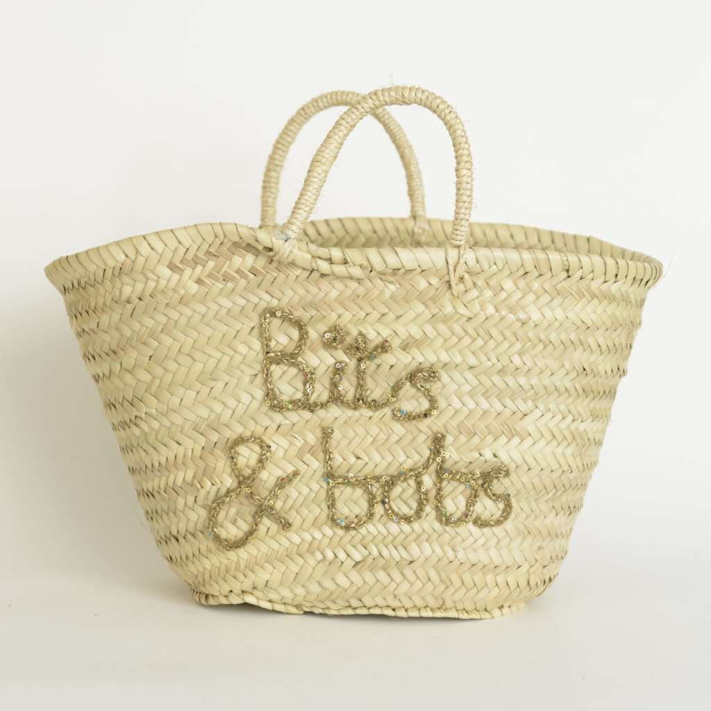Bits & Bobs - Hand Embroidered Woven Basket by Elsker Creations on OOSTOR.com