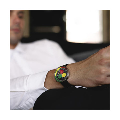 G6 Hong Kong | Men's Chronograph Watch | Canvas/Black Leather | Red/Yellow