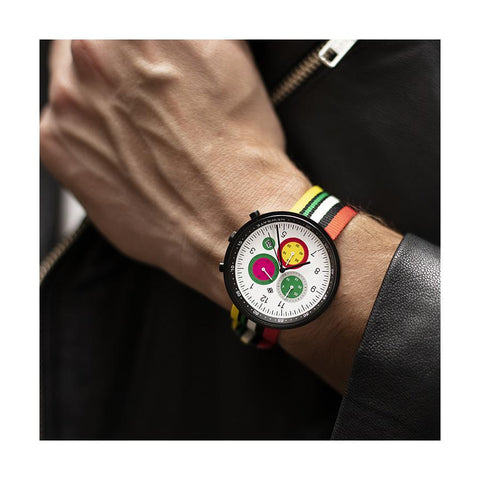 G6 Tokyo | Men's Chronograph Watch | Red Yellow Canvas/Black Leather | Modern Subdial