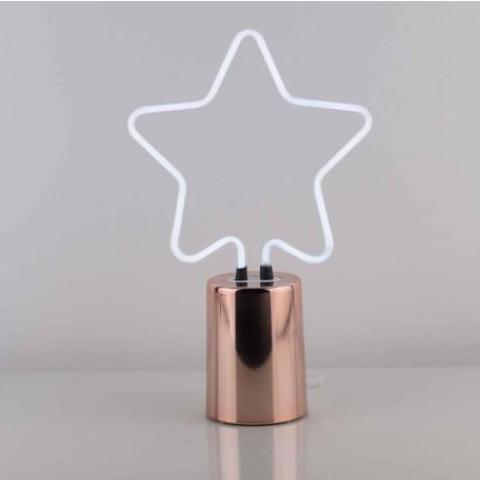 Bright White Neon Star Lamp With Rose Gold Base by gingersnap on OOSTOR.com