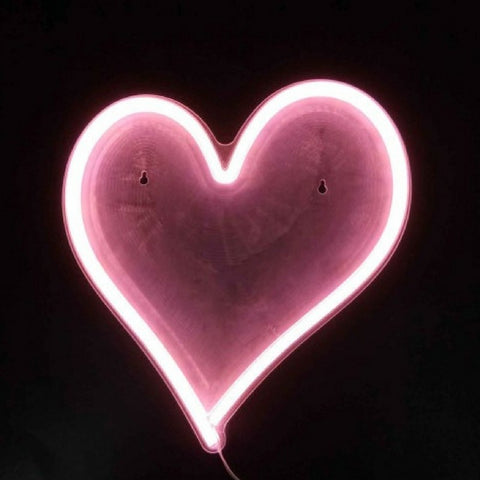 Pink Heart Neon LED Wall Art by gingersnap on OOSTOR.com