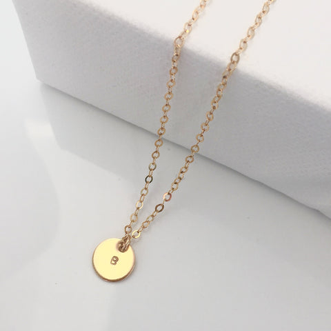 Mini Gold Personalised Disc necklace 2
