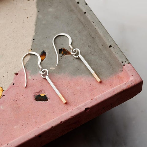 Two Tone Bar Earrings