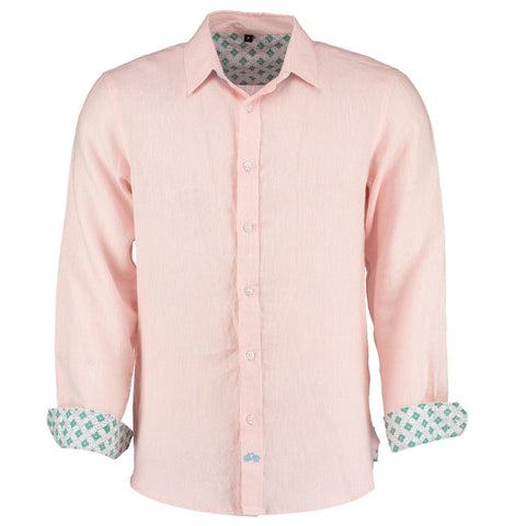 Karnataka Pink Linen Shirt by Tobias Clothing on OOSTOR.com