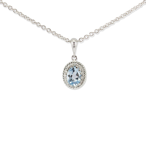 Luccichio Blue Topaz Silver Necklace