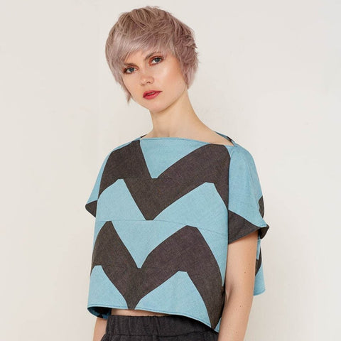 Namaka Top - Grey & Aqua by Bo Carter on OOSTOR.com