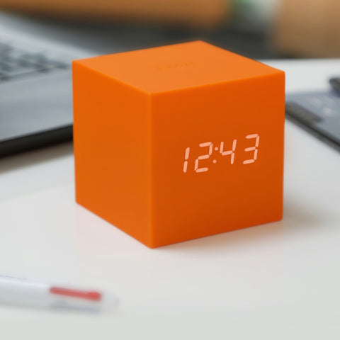 Orange Gravity Cube Click Clock by Gingko on OOSTOR.com