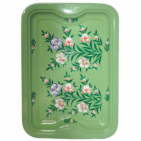 Sage Green Floral Enamelware Rectangular Tray by Jasmine White on OOSTOR.com