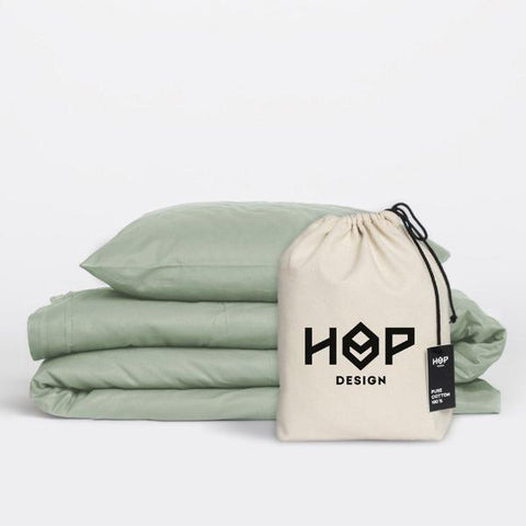 Sage Green Pure Cotton Duvet Cover by HOP Design on OOSTOR.com