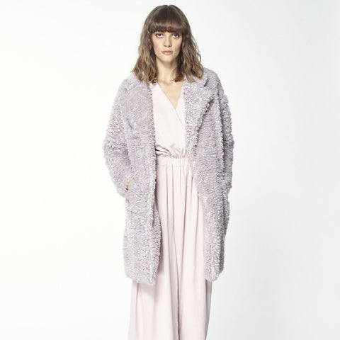 Fluffy Teddy Bear Coat in Lilac