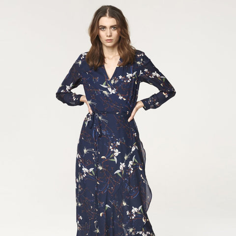 Floral Tie Wrap Maxi Dress with Frills in Navy