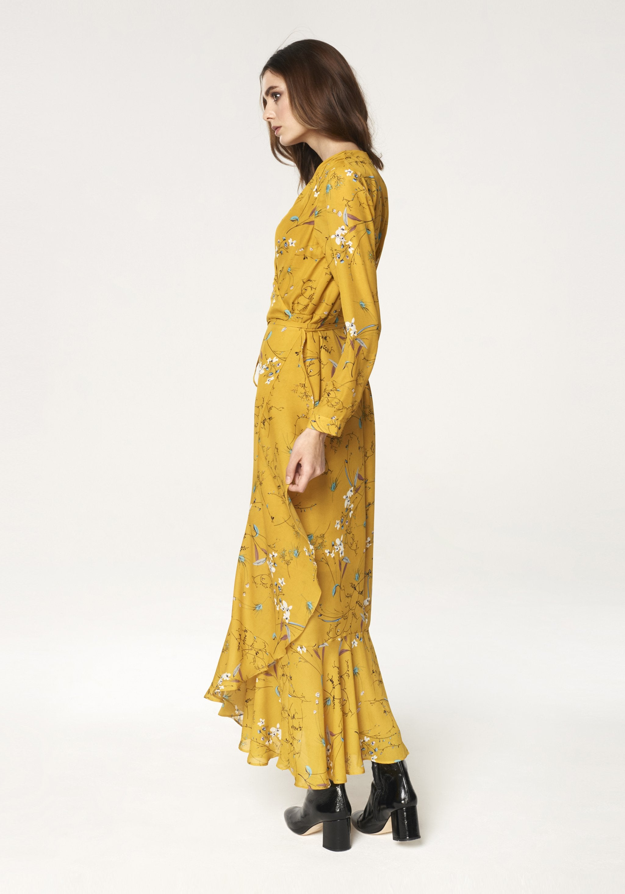 Floral Tie Wrap Maxi Dress with Frills in Yellow
