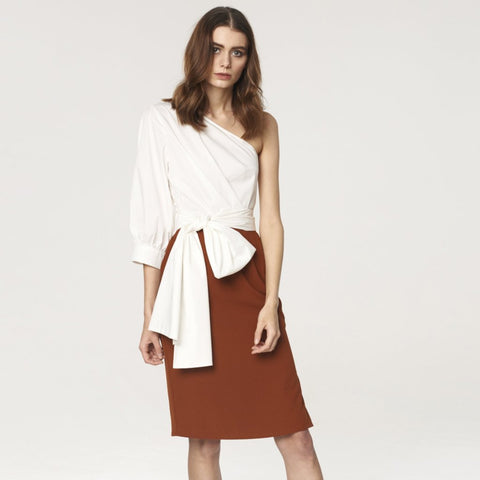 One Shoulder Dress with Waist Tie and Contrast Skirt