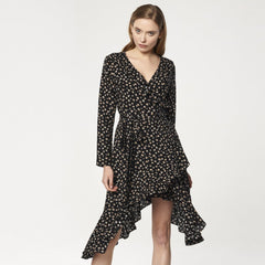 Floral Frill Wrap Dress with Asymmetric Hem