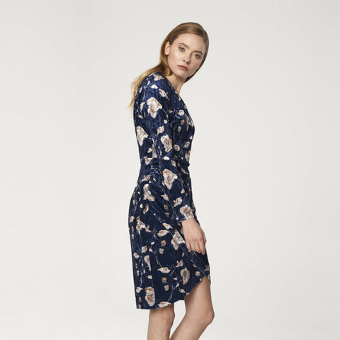 Floral Velvet Wrap Dress with V Neck and Button Front