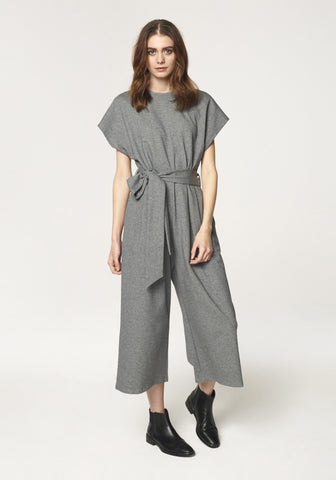 Cropped Jersey Jumpsuit in Charcoal by Paisie on OOSTOR.com