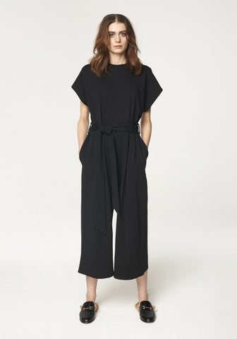 Cropped Jersey Jumpsuit in Black by Paisie on OOSTOR.com
