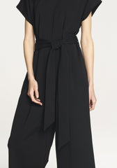 Cropped Jersey Jumpsuit in Black