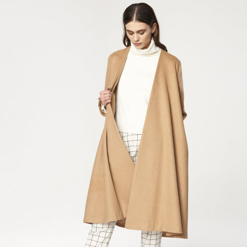 A-Line Collarless Coat with Cuff Details in Sand by Paisie on OOSTOR.com