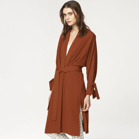 Oversized Wrap Coat with Pleated Waist Details in Brown