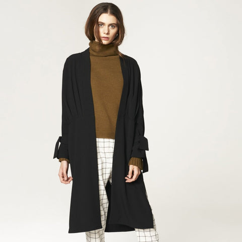 Oversized Wrap Coat with Pleated Waist Details in Black