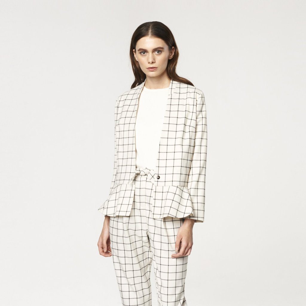 Checked V Neck Blazer with Peplum Hem in White and Black