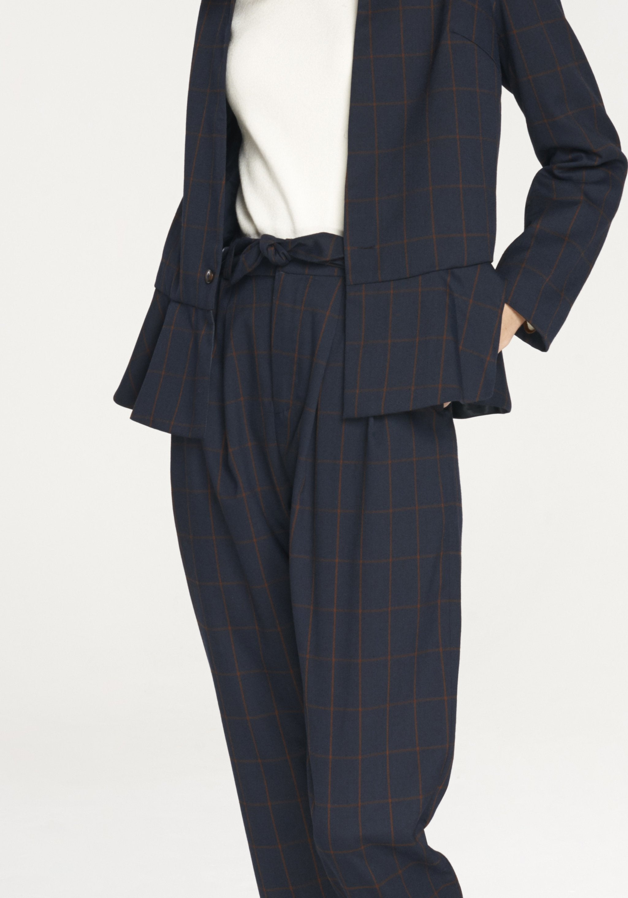 Checked V Neck Blazer with Peplum Hem in Navy and Brown