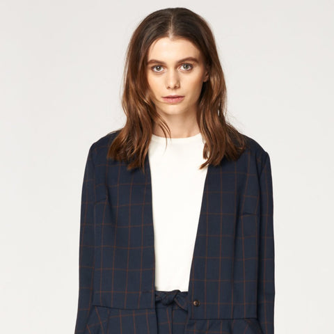 Checked V Neck Blazer with Peplum Hem in Navy and Brown by Paisie on OOSTOR.com