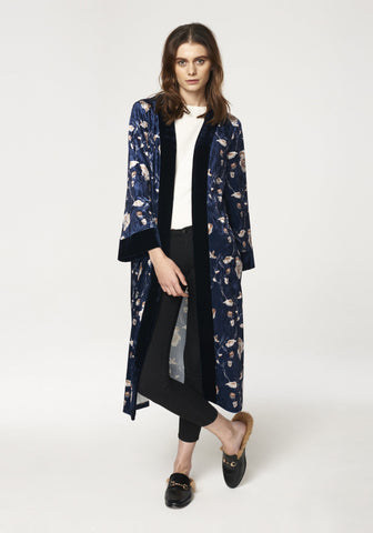 Floral Velvet Wrap Cardigan with Contrast Edge