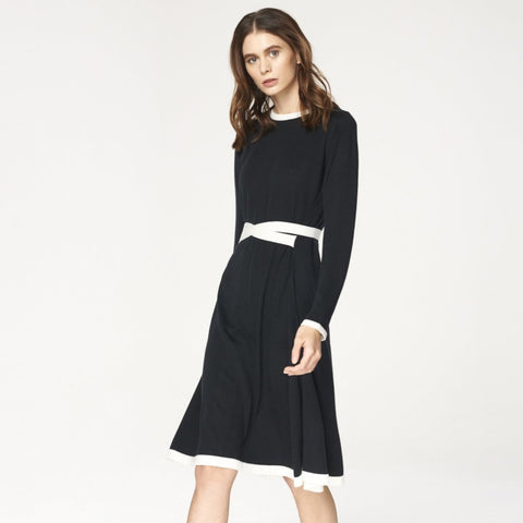 Knitted Dress with Contrast Edges and Waist Ties in Black and White