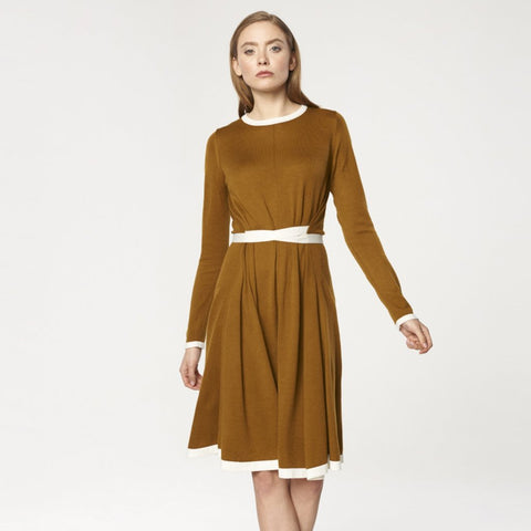 Knitted Dress with Contrast Edges and Waist Ties in Mustard and White