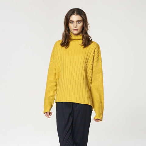 Funnel Neck Jumper with Wide Ribs in Yellow