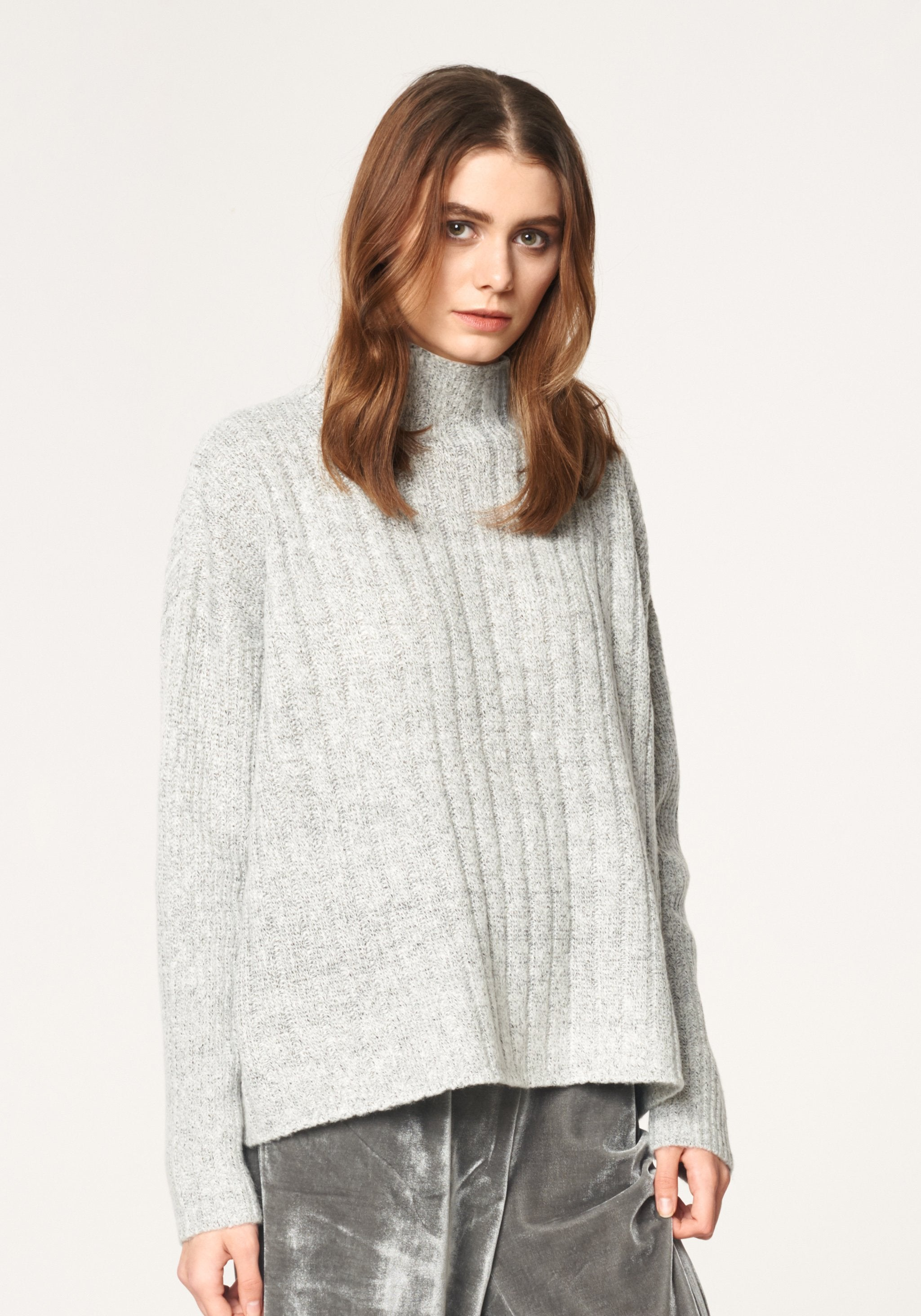 Funnel Neck Jumper with Wide Ribs in Marl Grey