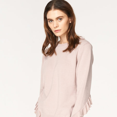 Knitted Top with Asymmetric Frill Details in Blush