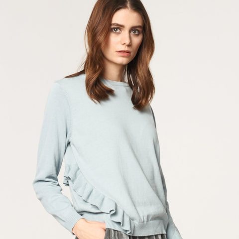 Knitted Top with Asymmetric Frill Details in Light Blue