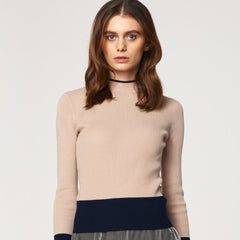 High Neck Top with Block Colour Panels in Beige and Navy