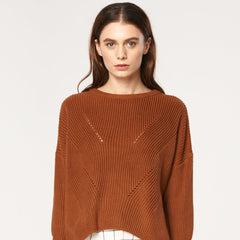 Jumper with Knit Details and Flared Sleeves in Brown