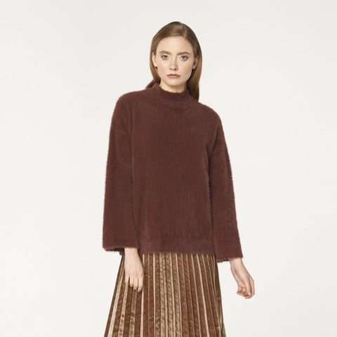 High Neck Fluffy Jumper with Wide Sleeves in Maroon