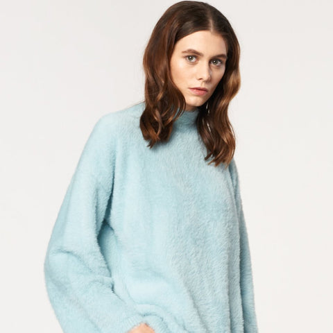 High Neck Fluffy Jumper with Wide Sleeves in Duck Egg Blue