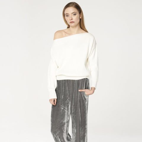 Bardot Jumper with Fitted Waist in White by Paisie on OOSTOR.com