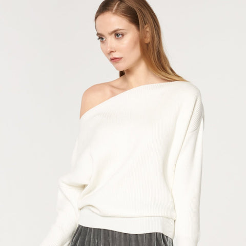 Bardot Jumper with Fitted Waist in White by Paisie