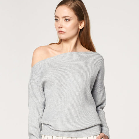Bardot Jumper with Fitted Waist in Grey by Paisie
