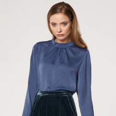 High Neck Blouse with Back Neck Tie in Indigo