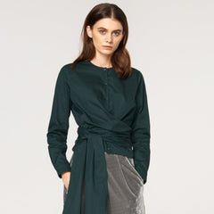 Button Front Blouse with Waist Tie Wrap in Green by Paisie on OOSTOR.com