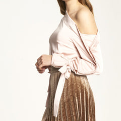 One Shoulder Blouse with Tie Sleeve Details in Blush