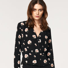 Floral V Neck Blouse with Ruched Waist Detail