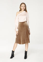 Pleated Velvet Skirt in Brown